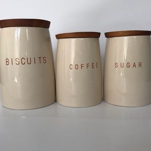 Williams Sonoma Ceramic Canisters with Wooden Top